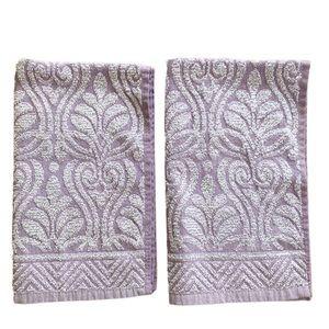 Vintage Chenille hand towels purple white modern